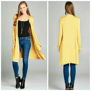 Yellow long open front cardigan with pockets